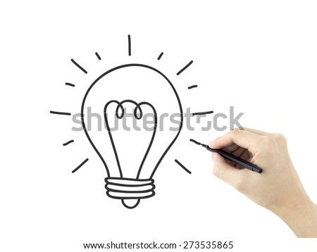 light bulb drawn by man's hand over white background