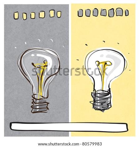 light-bulb dynamic freehand line style (raster version) - stock photo