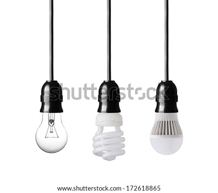 Light bulb,energy saver bulb and LED bulb isolated on white - stock photo