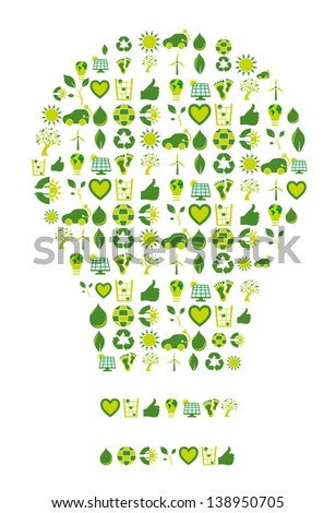Light bulb filled with bio eco environmental icons and symbols to be used as an inspiration source or enlightenment