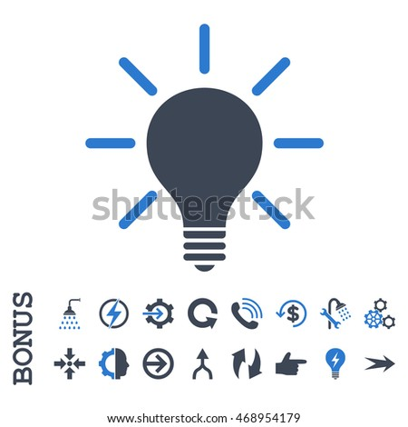 Light Bulb glyph bicolor icon. Image style is a flat pictogram symbol, smooth blue colors, white background.