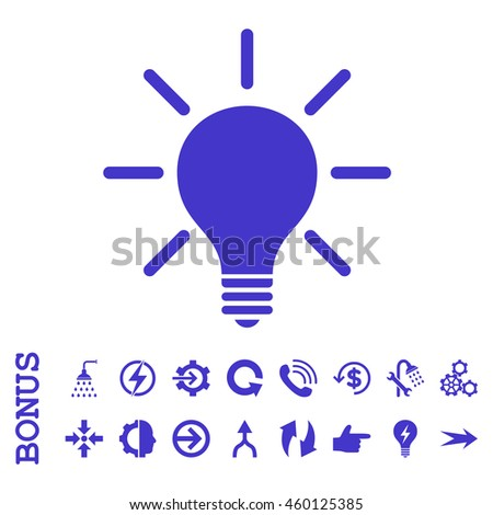 Light Bulb glyph icon. Image style is a flat pictogram symbol, violet color, white background.