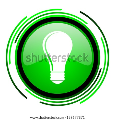 light bulb green circle glossy icon  - stock photo