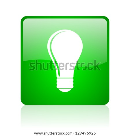 light bulb green square web icon on white background - stock photo