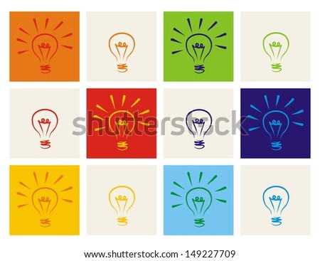 Light bulb icon set - hand drawn colorful doodle collection isolated on white with green, blue, dark denim, beige, red, orange and yellow background. Sign of ecology thinking or creative invention