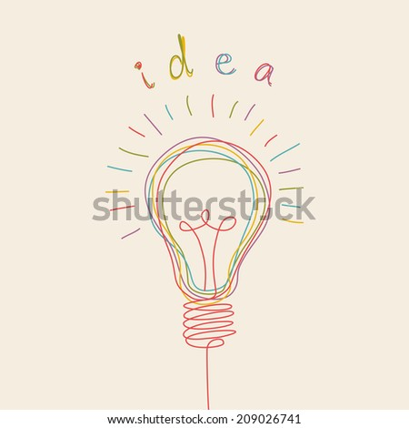 Light bulb icon with concept of idea. Doodle hand drawn sign. Illustration for print, web - stock photo