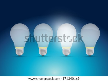 light bulb idea concept illustration design over a blue background
