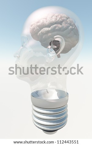 Light bulb in form of human head with human brain - stock photo
