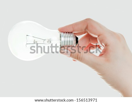 Light bulb in hand, isolated on white  - stock photo