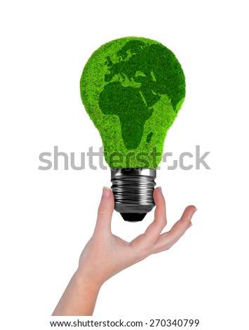 Light bulb in hand isolated on white  - stock photo