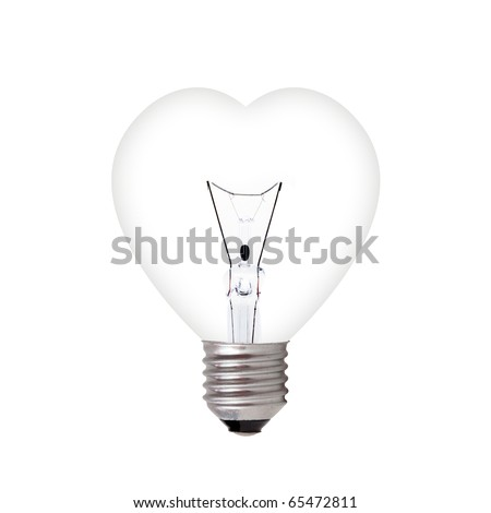 light bulb in heart shape