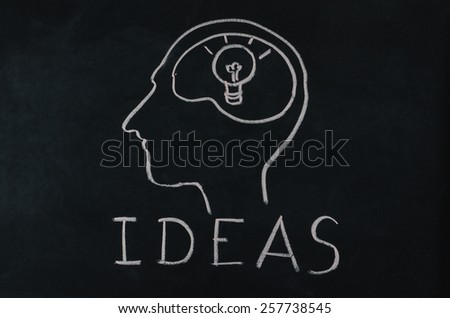 light bulb in human brain with idea concept on blackboard
