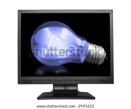 light bulb in lcd screen isolated on white - stock photo