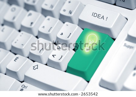 light bulb in the key of a keyboard computer