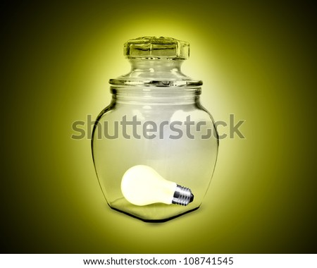 light bulb inside glass jar - stock photo