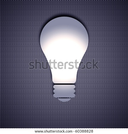 Light Bulb isolated on metal background and Steel background. - stock photo