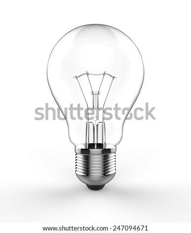 Light bulb isolated on white background. 3d photorealistic render - stock photo