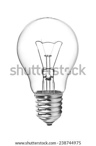 Light bulb isolated on white. Realistic photo image - stock photo
