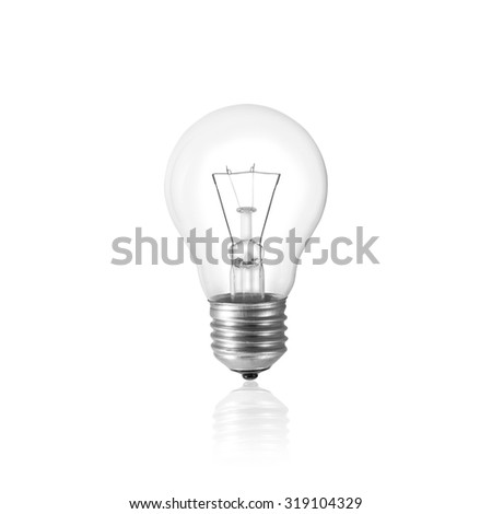 Light bulb isolated on white with clipping path, Realistic photo image. - stock photo