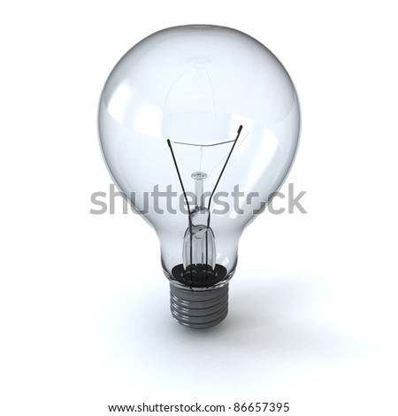 light bulb isolated on white with shadow - stock photo