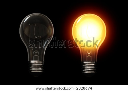 Light bulb isolated over a black background. This is a 3D rendered picture. - stock photo