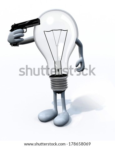 light bulb kill itself, the concept of old technology - stock photo