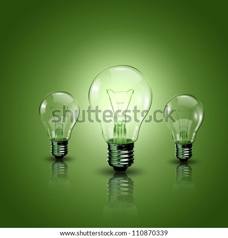 Light bulb lamps on a colour background - stock photo
