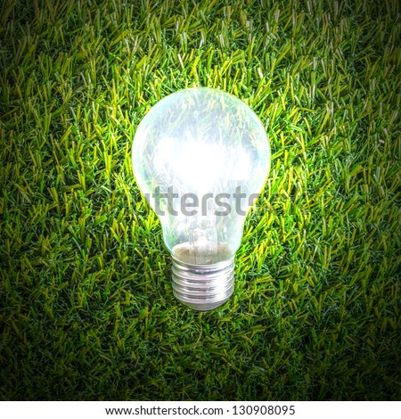 Light bulb lighting on the grass lawn yard