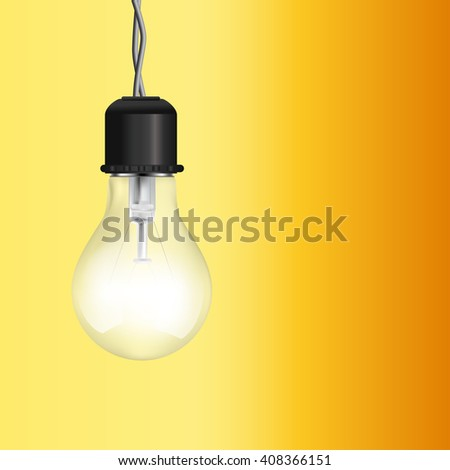 light bulb lighting on yellow background. raster illustration