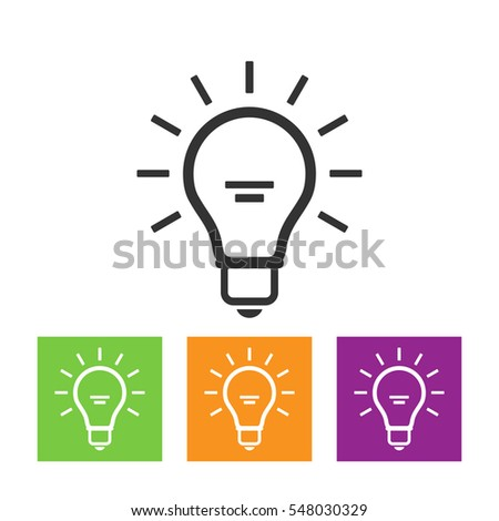 Light Bulb line icon , isolated on white background. Idea sign, solution, thinking concept. Lighting Electric lamp. Electricity, shine. Trendy Flat style for graphic design, Web site, UI.