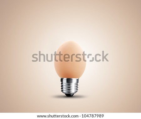 light bulb made from egg, light bulb conceptual Image. - stock photo