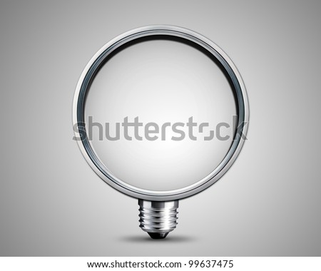 light bulb made from magnifying  Glass, light bulb conceptual Image. - stock photo