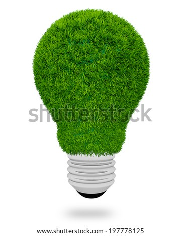 light bulb made of green grass on white background - stock photo