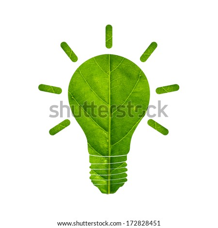 Light bulb made of green leaf,green eco energy concept. Isolated on white background - stock photo