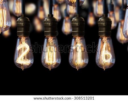 light bulb,new year 2016 - stock photo