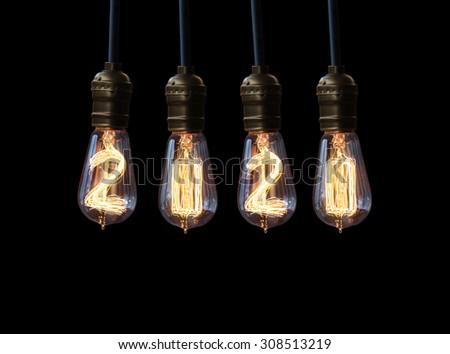 light bulb,new year 2020 - stock photo