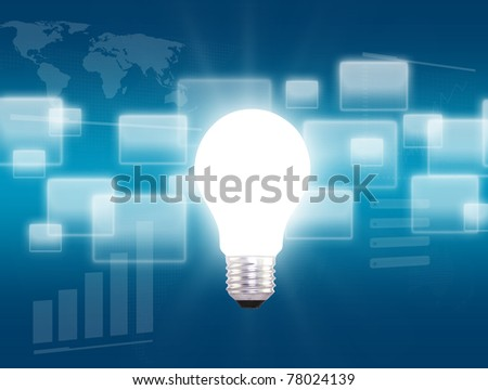 light bulb on blue background, square. - stock photo