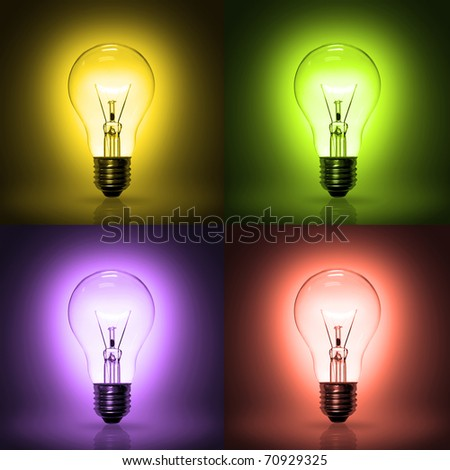 light bulb on colorful background. - stock photo