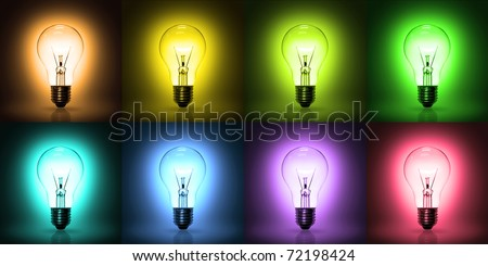 light bulb on colorful background - stock photo