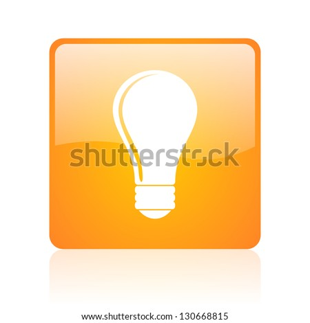 light bulb orange square glossy web icon - stock photo