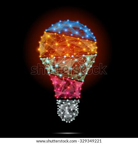 Light bulb polygonal with concept of idea. - stock photo