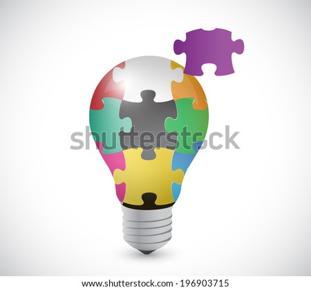 light bulb puzzle pieces illustration design over a white background - stock photo
