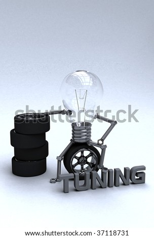 Light bulb sitting on the tire