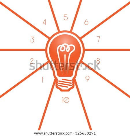Light bulb template 10 positions for text area, possible to use for workflow, banner, area chart