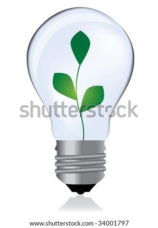 Light bulb whit plant - stock photo