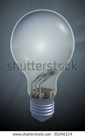 Light bulb with a Coal fired electricity - fossil fuel concept illustration