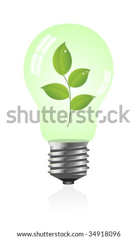 Light bulb with a plant. Illustration.