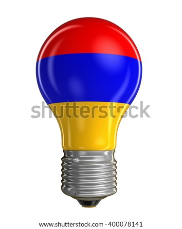 Light bulb with Armenian flag.  Image with clipping path - stock photo