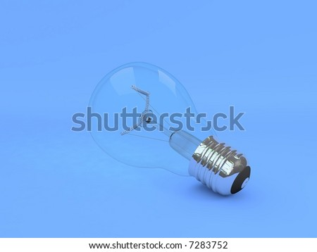 Light bulb with blue background - stock photo
