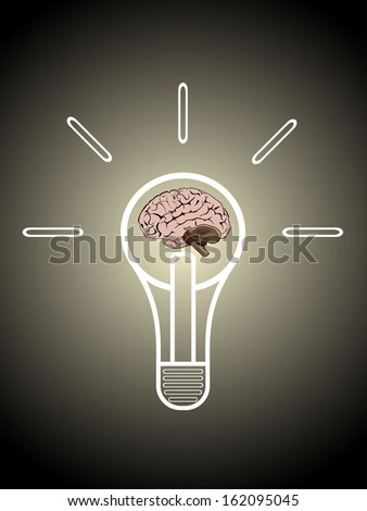 Light bulb with brain vector icon, idea concept - stock photo
